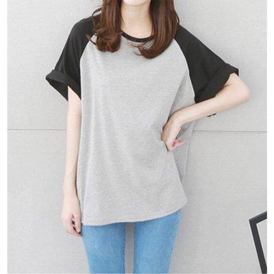 【Hao Da】全館399免運↘「M~XL。現貨」配色寬袖 圓領上衣 (C1094)