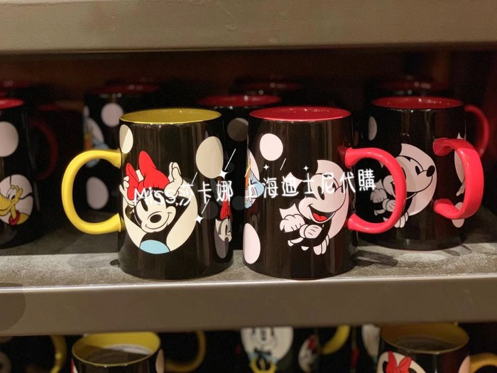 Miss莎卡娜代購【上海迪士尼樂園】﹝預購﹞米奇 唐老鴨 米妮 黑底白點點 陶瓷馬克杯