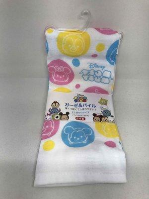 日本製 日本Disney 迪士尼 紗布巾 毛巾 嬰兒紗布巾 100%棉 TSUM TSUM彩色圈圈