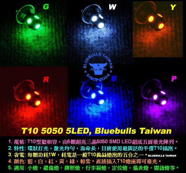 【藍牛冷光】高亮度五晶 五面 T10 T15 W5W BA9S 小炸彈 5050 SMD LED插泡 儀表燈 小燈 牌照燈 側燈