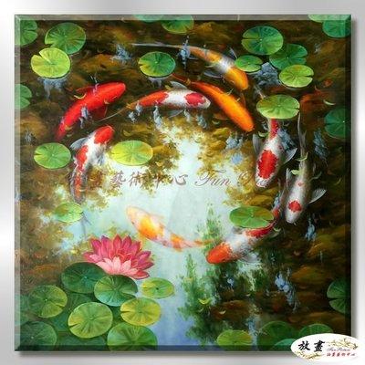 【放畫藝術】九如魚179 純手繪 油畫 方形 紅綠 中性色系 招財 求運 開運畫 事事如意 客廳掛畫 藝品 年年有餘