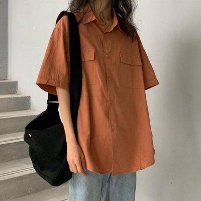 短袖襯衫襯衣2020夏季新款韓版寬鬆顯瘦工裝女士短袖上衣學生學院風襯衫女