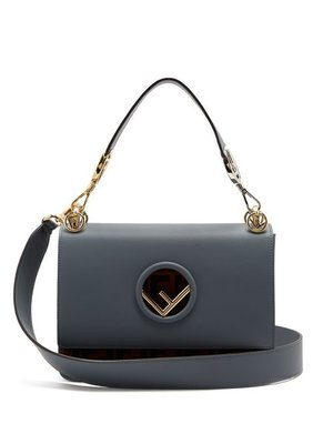 FENDI  Dotcom ribbon-whipstitch leather bag
