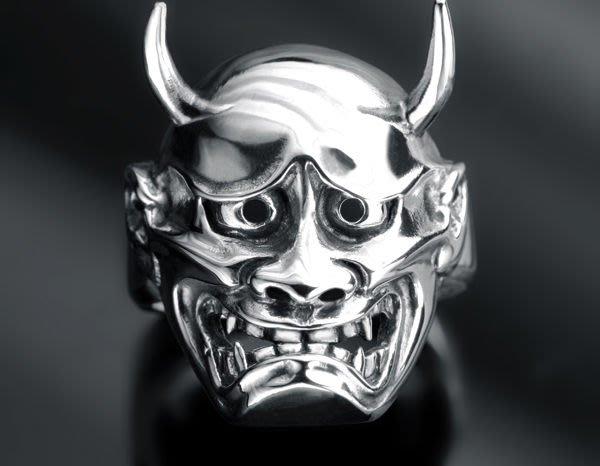 【創銀坊】般若 面具 925純銀 戒指 夜叉 鬼面 浮世繪 刺青 紋身 哈雷 重機 tattoo 戒子(R-10803)