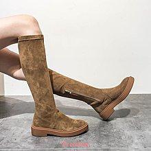 Freedom~女鞋羊皮靴子女2018秋冬新款真皮套筒長靴歐洲站時尚英倫騎士靴高筒靴