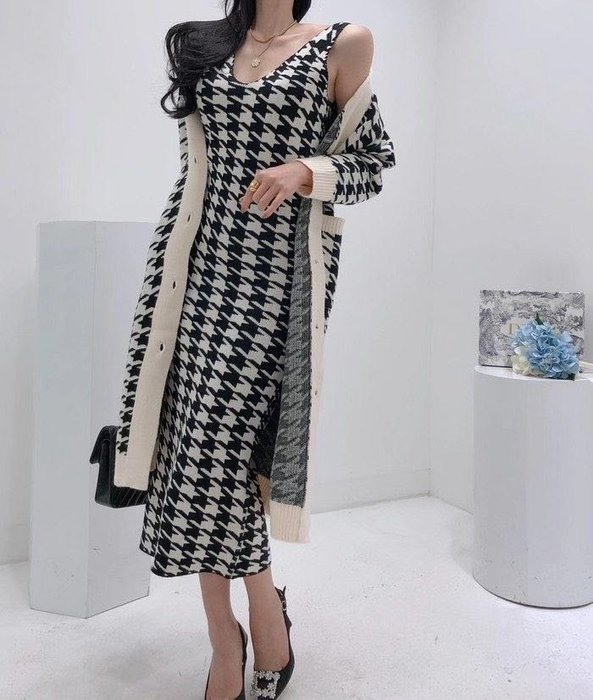 【2A Two】套裝〰️千鳥格V領針織背心裙+針織外套『BB00492』❤️外套可單購