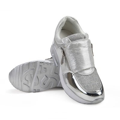 氣墊鞋 運動鞋(零碼賠售出清、恕不退換)-銀色雙拉鍊厚底內增高女鞋子71l51[獨家進口][米蘭精品]