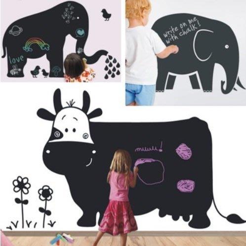 小妮子的家@牛.河馬.象.豬.蝸牛.狗黑板貼 壁貼/牆貼/玻璃貼/汽車貼/安全帽貼/磁磚貼/家具貼