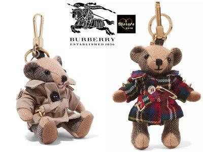 EUstore現貨►Burberry格紋喀什米爾THOMAS泰迪熊墜飾鑰匙圈cashmere風衣造型/蘇格蘭格紋羊毛外套