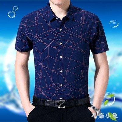 ZIHOPE 襯衣 新款夏季中年男士短袖襯衫寬鬆休閒沙灘印花襯衣百搭上衣ZI812
