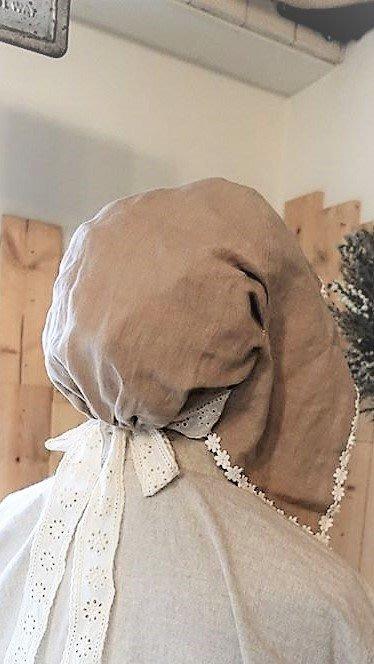 【花里-棉麻自然生活】正韓韓國直送自然系森林系棉麻亞麻田園風 刺繡蕾絲帽#5188