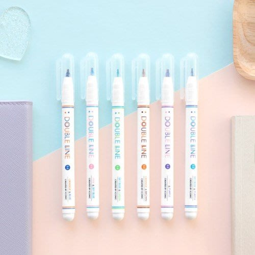 好心情日韓正品雜貨『韓國 iconic』0.5mm Double Line Pen 雙線條水性筆3支組~2款