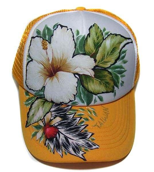 台灣花布網帽(黃白黃)--- 拼貼+彩繪工法 時尚/個性/純手工製作工藝/ 原創設計