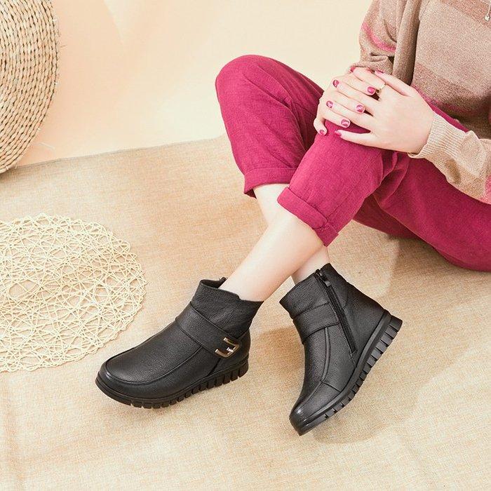 【熱門款】冬季女鞋棉鞋平底平跟中老年中年老人棉靴子女靴短靴媽媽鞋真皮鞋休閒