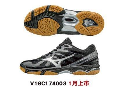 運動GO~ MIZUNO 美津濃 排球鞋羽球鞋 WAVE HURRICANE3 膠底 V1GC174003
