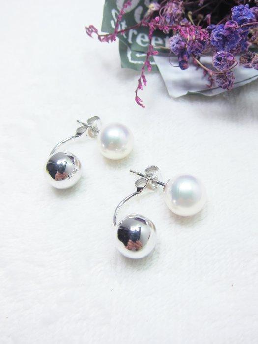 時尚2way日本珍珠K金造型耳環【元圓珠寶】