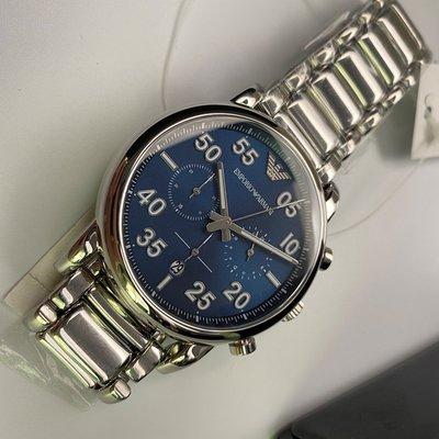 ARMANI阿曼尼男女通用錶,編號AR00002,42mm銀圓形精鋼錶殼,寶藍色三眼, 精密刻度錶面,銀色精鋼錶帶款