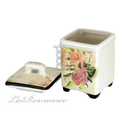【芮洛蔓 La Romance】義大利 Ceramiche Fabbro 手繪粉玫瑰方形糖罐 - 小  / 置物罐 /  糖罐