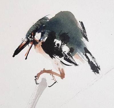 鳳崗文創---{繪畫324}---鳥語---李蕭錕----畫心尺寸約: 38 x 56 cm