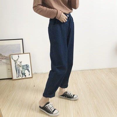 牛仔 褲 直筒 長褲-簡約百搭舒適鬆緊腰女褲子2色73tq2[獨家進口][米蘭精品]