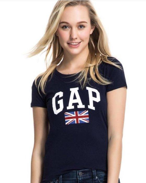 GAP 短袖 t恤 上衣 現貨 英國國旗 LOGO 標誌 深藍色