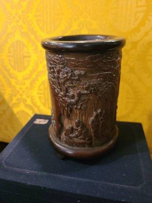 清早期竹雕筆筒(東山報捷圖)吳之藩作