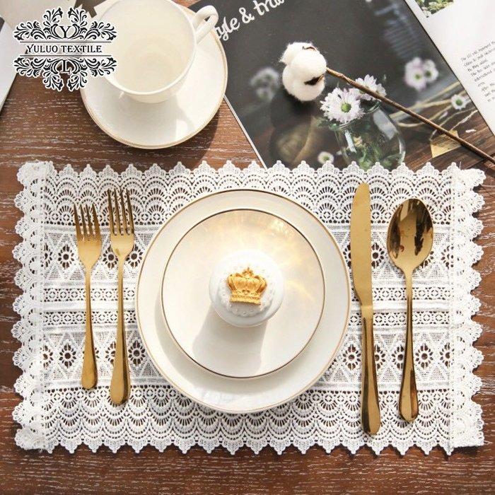 法式 凱瑟琳 桌墊 2入 蕾絲桌巾 桌布 白色 婚禮 佈置 裝飾 道具 攝影 田園 美式 花木馬 餐具墊 白色野餐