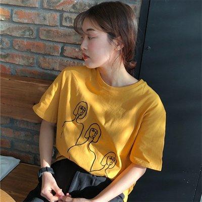 新款寬松韓版ulzzang百搭黃色上衣服小清新短袖t恤女