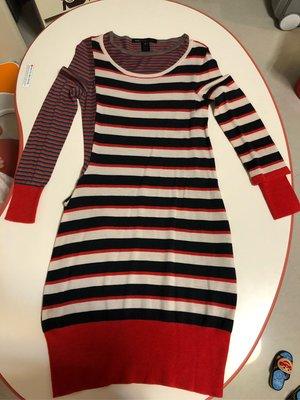 (二手近全新)百貨專櫃品牌 Marc by Marc Jacobs 不對稱條紋薄針織洋裝