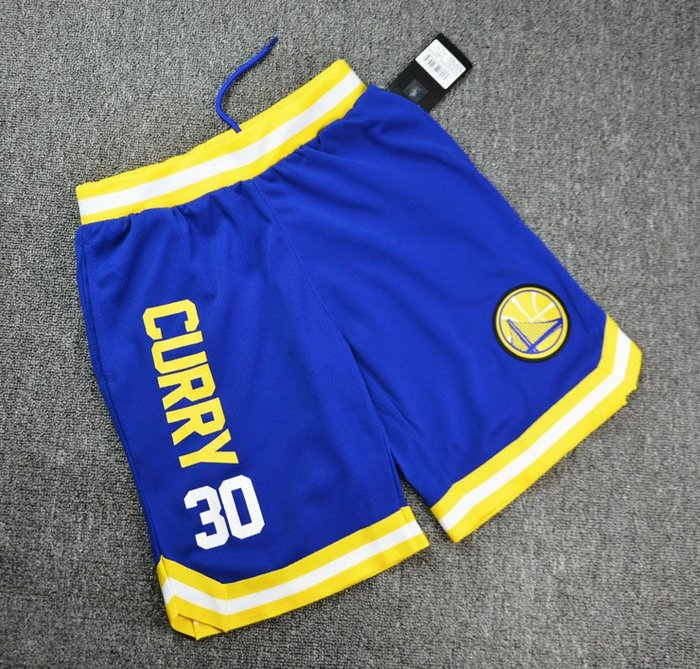 NBA籃球青年短褲 金州勇士隊  CURRY 口袋版 運動籃球褲 藍色 正版