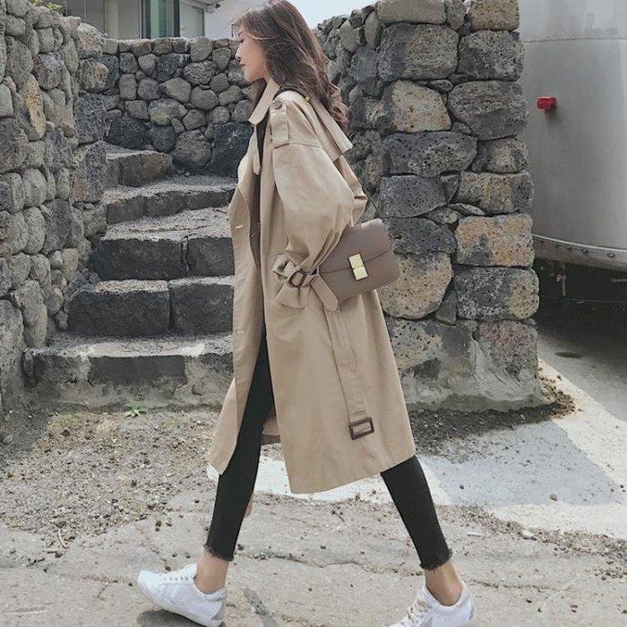 風衣女 中長款韓版秋冬新款lulu卡其色休閒寬鬆長款過膝春外套