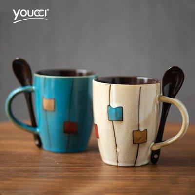 咖啡杯-創意陶瓷杯復古個性馬克杯簡約杯子早餐杯咖啡杯家用水杯帶蓋帶勺