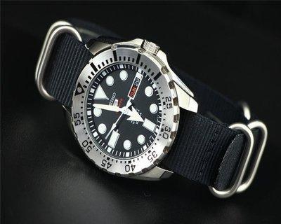 20mm 22mm超粗硬漢風格防磁消光不鏽鋼錶扣特戰兵軍錶風格nato zulu TUNA CAN SBBN尼龍錶帶黑色