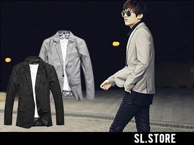 SL Store【SCL11】高質感韓版素面修身休閒西裝外套小西服‧黑/淺灰/M/L/XL/2XL/3XL
