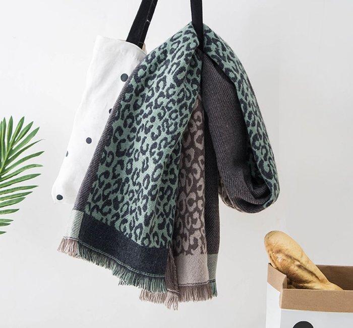 !現貨區!  韓國秋冬撞色豹紋仿羊絨披肩流蘇圍巾