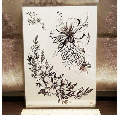 【萌古屋】巴洛克風花朵大圖 - 男女防水紋身貼紙刺青貼紙TH-171