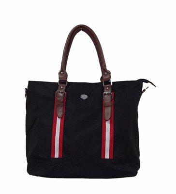 英國潮牌風格高密度防潑水尼龍14吋筆電手提包 拖特包 公事包 手提側背肩背三用包 黑色