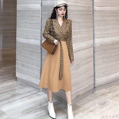 好物多商城 秋裝新款復古長袖小西裝格子拼接收腰裙子港味少女長款連衣裙