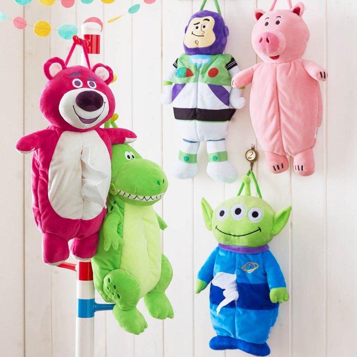 迪士尼Disney《預購》玩具總動員人物造型 面紙盒面紙套~三眼怪火腿豬熊抱哥巴斯光年抱抱龍~日本正品~共5款~心心小舖