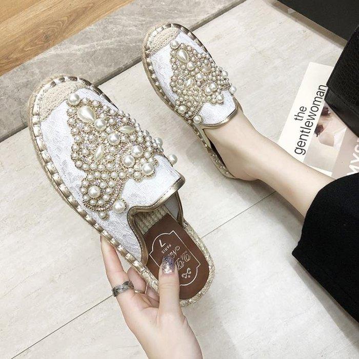 半拖鞋 半拖鞋女平底包頭春夏時尚外穿涼拖鞋室外拖鞋水鉆漁夫鞋