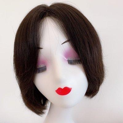 整頂假髮真髮絲短假髮-簡約中分直髮手織女假髮2色73vr14[獨家進口][米蘭精品]