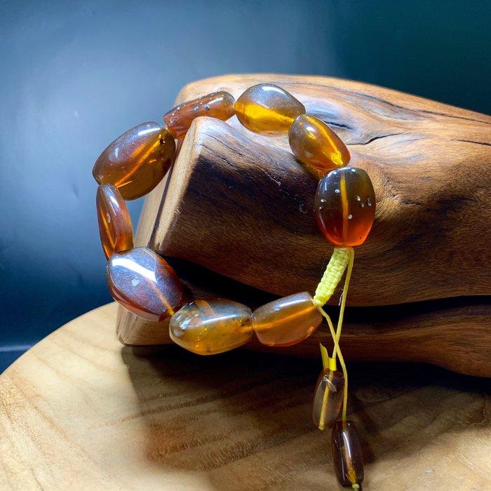 緬甸天然琥珀 原礦研磨 蜜色 大顆厚實 手珠串