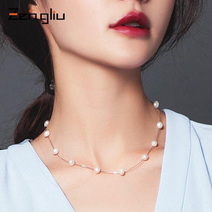 鎖骨鏈 項鏈 吊墜 項鏈 韓系 禮物 925銀飾網紅珍珠項鏈 女短款鎖骨鏈正圓頸鏈脖子鏈日