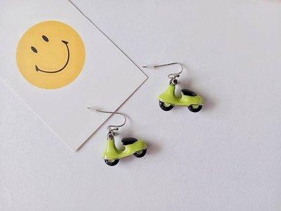 【小麼雜貨】歐美趣味搞怪果綠色立體偉士牌復古童趣機車 耳環 耳鈎(現貨)A049(2)下8/22