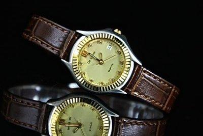 168錶帶配件 /台灣製 ,庫存出清de lorme 女錶, 12mm真皮錶帶,不鏽鋼殼,備有日期