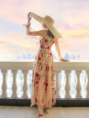 Riz collection高端女裝 2020新款春季氣質小個子碎花仙女刺繡長裙網紗吊帶連身裙