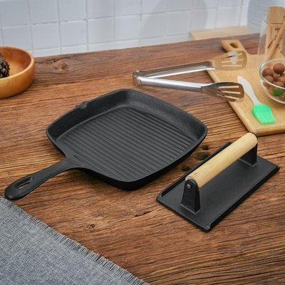 24公分加厚鑄鐵牛排鍋無涂層不粘鍋平底鍋煎牛扒鍋條紋電磁爐通用HD