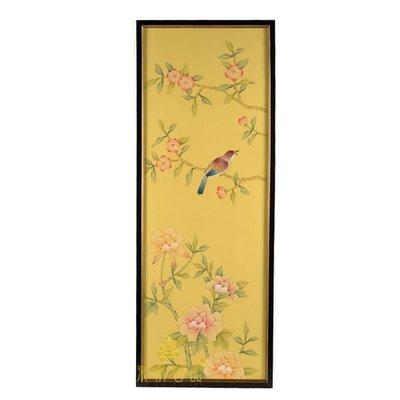 【芮洛蔓 La Romance】東情西韻系列手繪絹絲畫飾 黃底花鳥 CHY-035