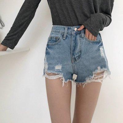 復古簡約女裝百搭學生高腰顯瘦不規則破洞牛仔短褲
