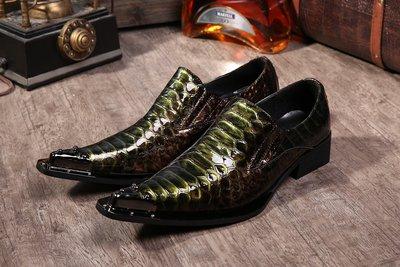 個性時裝男皮鞋 英倫歐范韓版時尚套腳潮男鐵頭尖頭皮鞋 個性走秀理發師發型師鞋